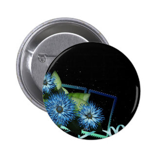 Classy blue black floral gifts - personalize names 2 inch round button
