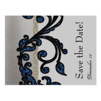 Classy Blue Black Silver Fancy Save the Date Postcard