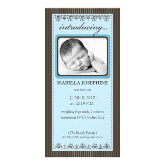 Classy Blue Customized Birth Announcement