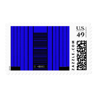 Classy Blue Flowing Banner Stamp