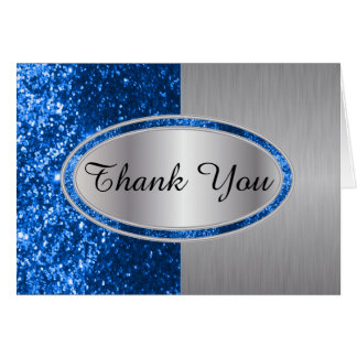 Classy Blue Glitter Brush Steel Metal Look Card