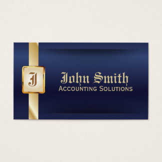 Classy Blue Gold Accounting Business Card
