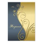 "Classy Blue Gold Floral Wedding Response RSVP 3.5"" X 5"" Invitation Card"