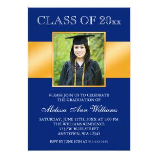 Classy Blue Gold Photo Graduation Announcement