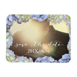 Classy Blue Hydrangea Flower Frame Save the Date Magnet
