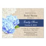 Classy Blue Hydrangea Lace & Burlap Bridal Shower Card