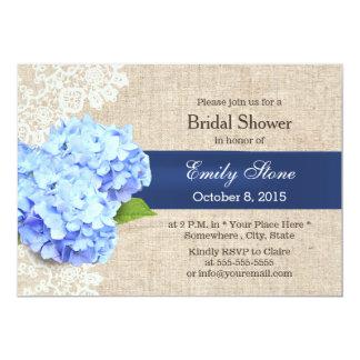 Classy Blue Hydrangea Lace & Burlap Bridal Shower 5x7 Paper Invitation Card