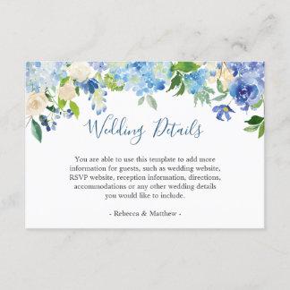 Classy Blue Hydrangeas Floral Wedding Info Details Enclosure Card