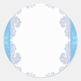Classy blue invitation template classic round sticker