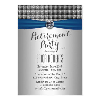 Classy Blue Ribbon Modern Silver Retirement Party Card