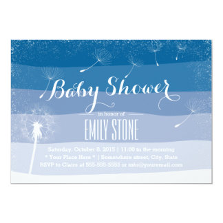 Classy Blue Shades Dandelion Blowing Baby Shower 5x7 Paper Invitation Card