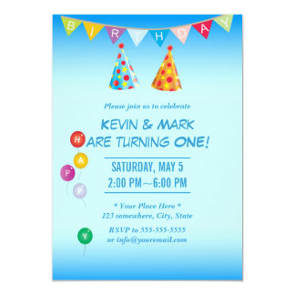 Classy Blue Twin Boys Birthday Party Invitations