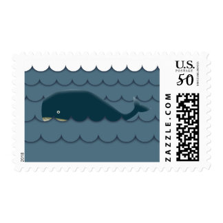 Classy Blue Whale in the Sea Stamps