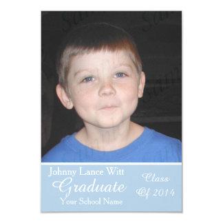 Classy Blue White Graduation Add Large Photo Invitations