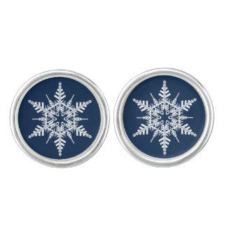Classy Blue & White Snowflake Cufflinks