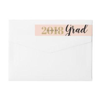 Classy Blush and Gold Graduation Return Address Wrap Around Label