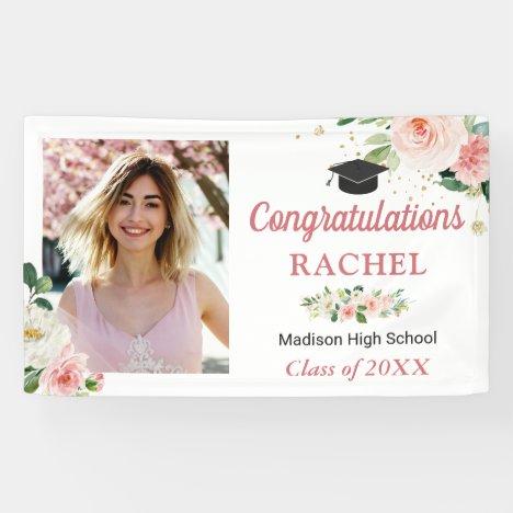 Classy Blush Pink Floral Graduate Graduation Party Banner