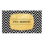 CLASSY bold chevron pattern gold foil panel black Business Card