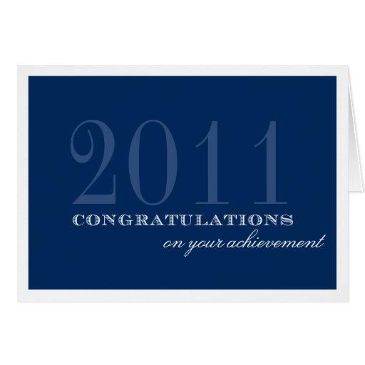 Classy border navy blue congratulation achievement greeting card