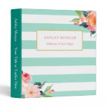 Classy Botanical Floral Mint Green White Stripes Binder