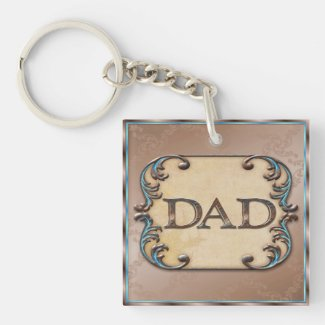 Classy Brown & Blue Father's Day key chain