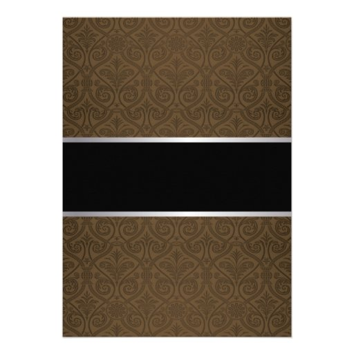 Classy Brown Damask Retirement Party Invitations (back side)