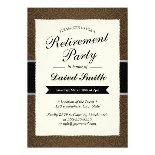 """Classy Brown Damask Retirement Party Invitations 5"""" X 7 ..."""