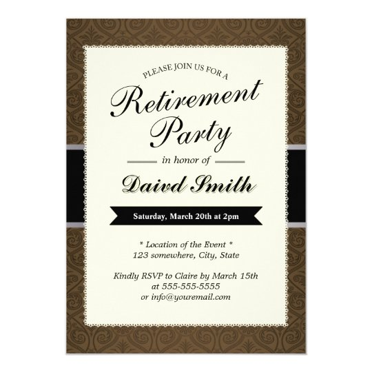 classy brown damask retirement party invitations zazzle com