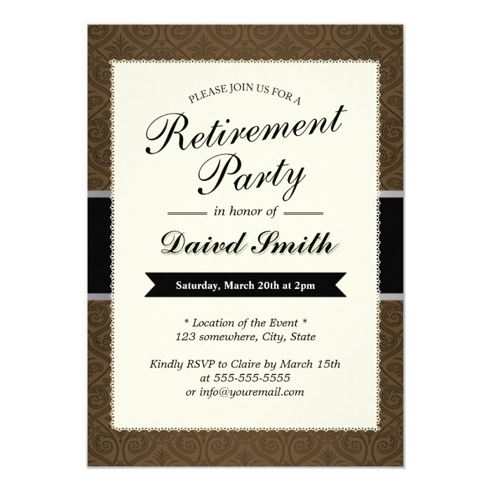 classy brown damask retirement party invitations  zazzle