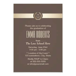 Classy Brown & Gold Law School Graduation Card
