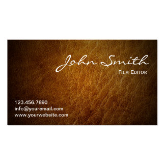Classy Brown Leather Film Editor Business Card