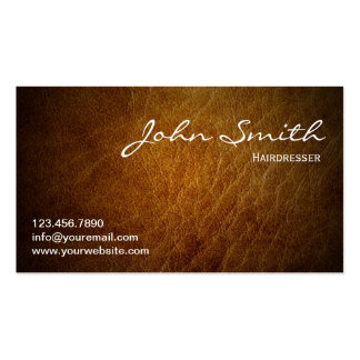 Classy Brown Leather Hairdresser Business Card