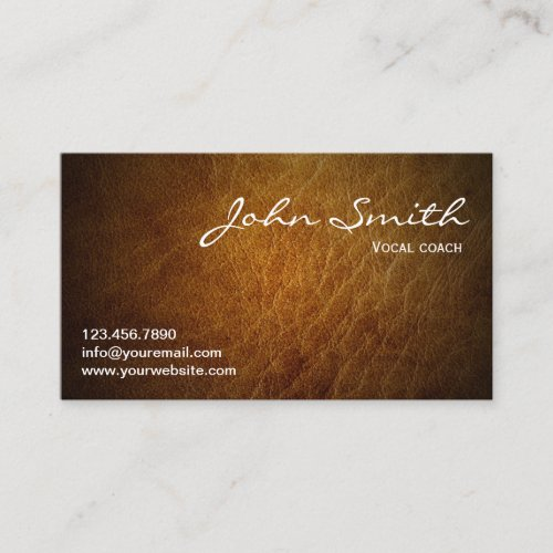 Classy Brown Leather Vocal Coach Business Card