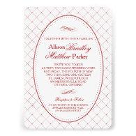 Classy Burgundy Check Pattern Wedding Invitation