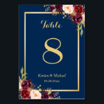 "Classy Burgundy Floral Gold Navy Blue Table Number<br><div class=""desc"">Classy Burgundy Floral Gold Navy Blue Table Number Card (1) Please customize this template one by one (e.g, from number 1 to xx) , and add each number card separately to your cart. (2) For further customization, please click the ""customize further"" link and use our design tool to modify this...</div>"