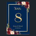 """Classy Burgundy Floral Gold Navy Blue Table Number<br><div class=""""desc"""">Classy Burgundy Floral Gold Navy Blue Table Number Card (1) Please customize this template one by one (e.g, from number 1 to xx) , and add each number card separately to your cart. (2) For further customization, please click the """"customize further"""" link and use our design tool to modify this...</div>"""