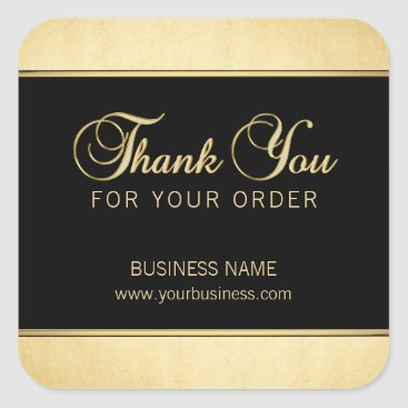 Professional Business Classy Business Professional Thank You Gold Black Square Sticker