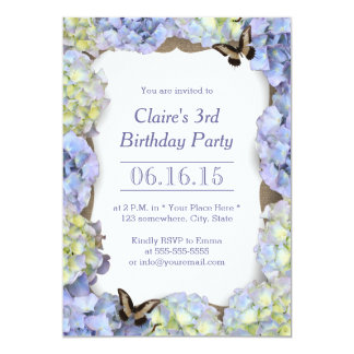 Classy Butterfly & Flowers Birthday Garden Party Card