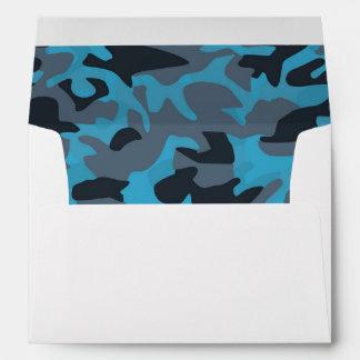 Classy Cadet Blue Steel Blue Camouflage Pattern Envelope