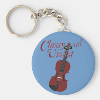 Classy-cal Violist Basic Round Button Keychain