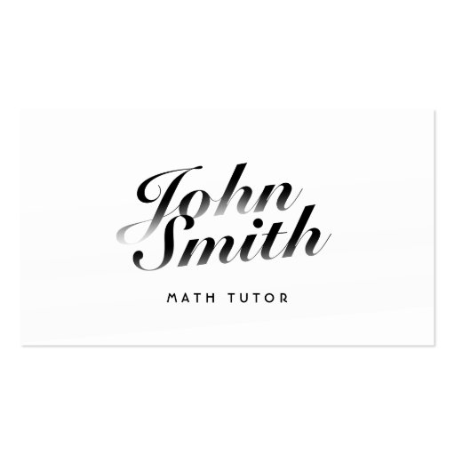 Classy Calligraphic Math Tutor Business Card