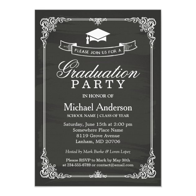 Chalkboard Themed Graduation Invitations