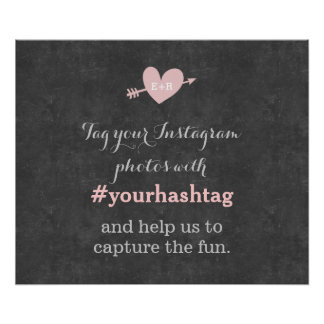 Classy Chalkboard Wedding Photos Hashtag Sign Print