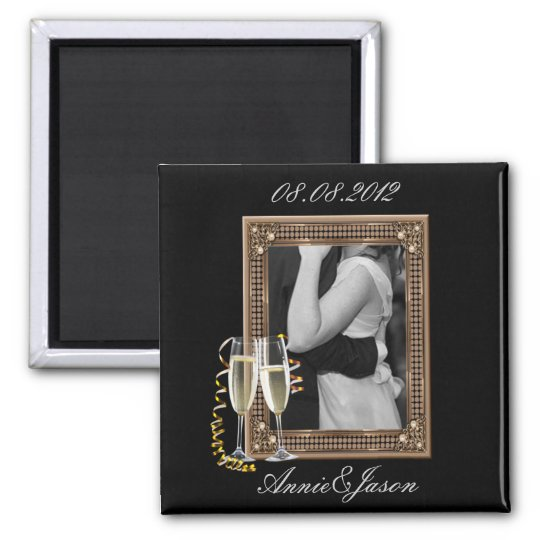 Classy Champagne glasses Wedding 2 Inch Square Magnet