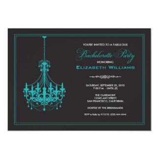 Classy Chandelier Bachelorette Invitation (aqua)