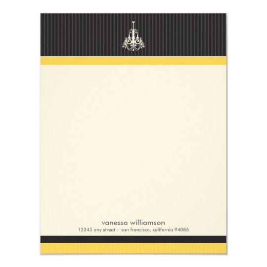 Classy Chandelier Custom Flat Note Cards (yellow)