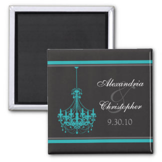 Classy Chandelier Wedding Favor Magnet (aqua)
