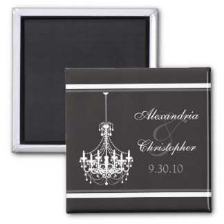 Classy Chandelier Wedding Favor Magnet (white)