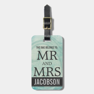 Classy Charcoal Gray and Aqua Blue Couples Luggage Tag