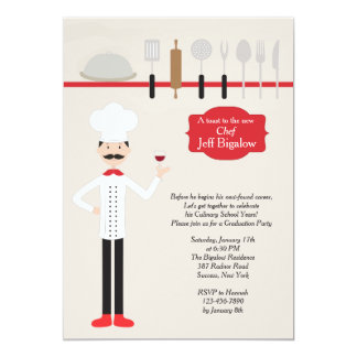 Classy Chef Graduation Invitation